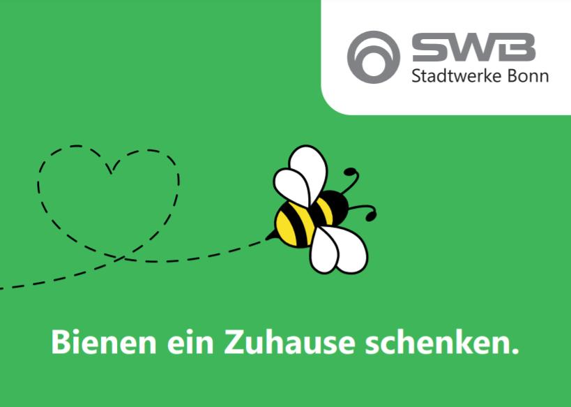 Karte mit Logo und Slogan Bienen ein Zuhause schenken